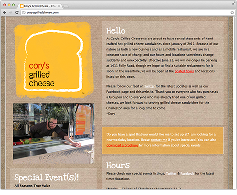 Cory's Grilled Cheese Website