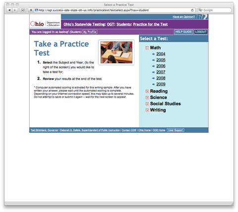 Selecting a Practice Test